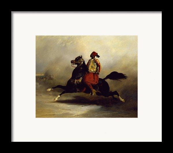 Nubian Horseman At The Gallop Framed Print By Alfred Dedreux Or De Dreux