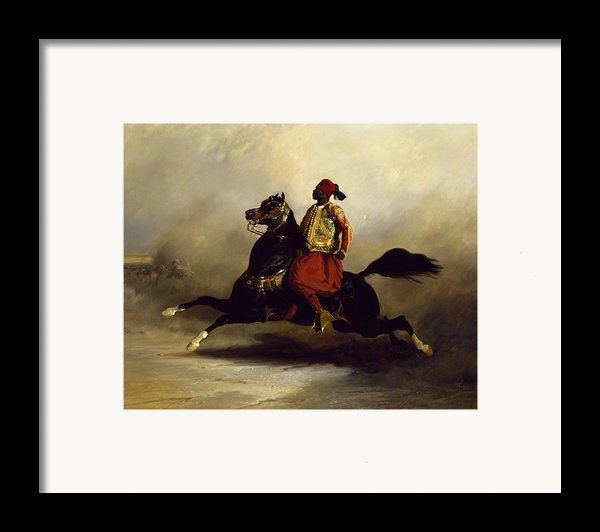 Nubian Horseman At The Gallop Framed Print By Alfred Dedreux Or De Dreux
