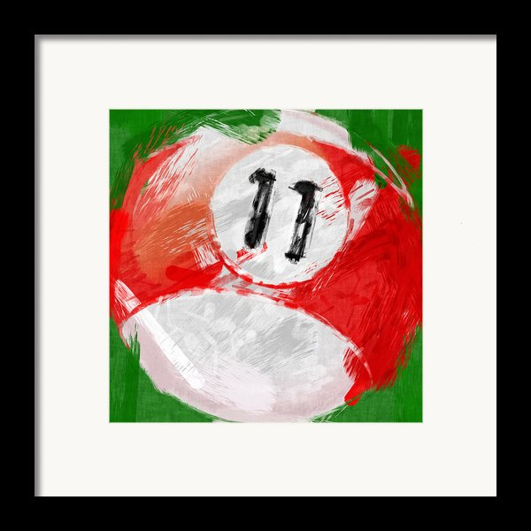 Number Eleven Billiards Ball Abstract Framed Print By David G Paul