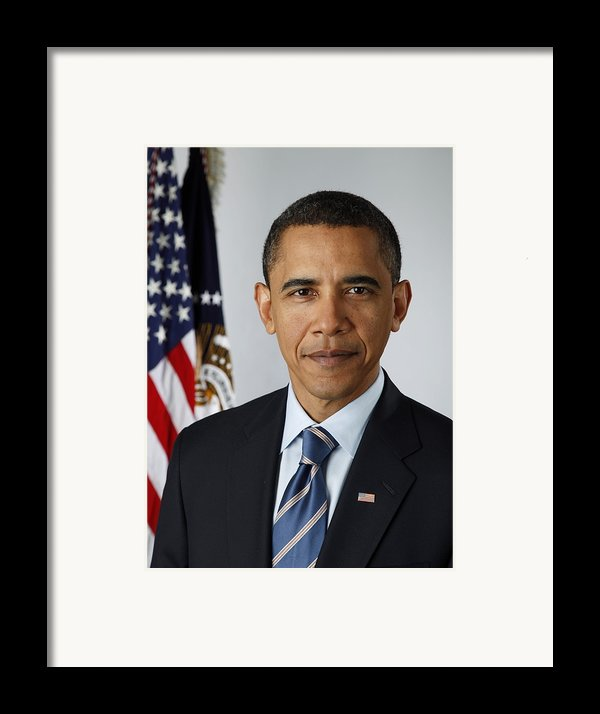 Official Portrait Of President Barack Framed Print By Everett