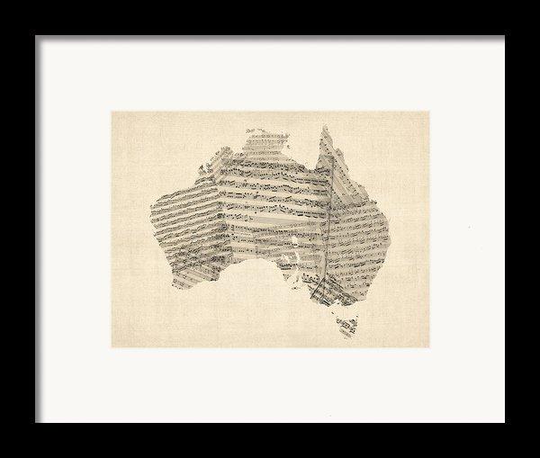 Old Sheet Music Map Of Australia Map Framed Print By Michael Tompsett