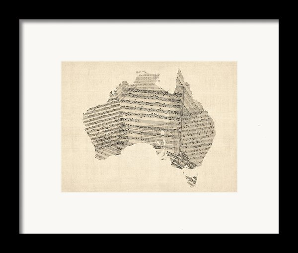 Old Sheet Music Map Of Australia Map Framed Print By Michael Tompsett