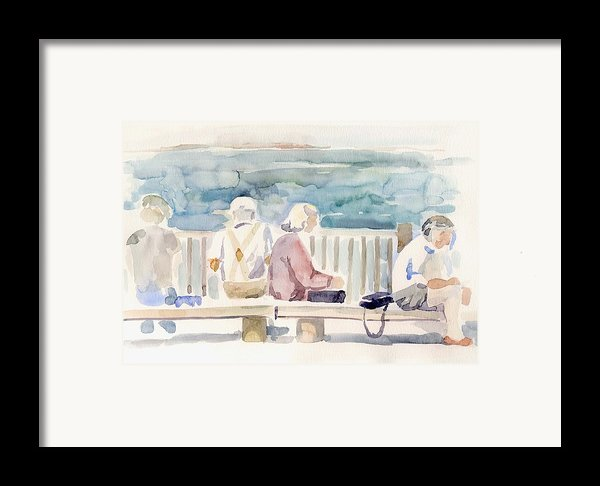 People On Benches Framed Print By Linda Berkowitz