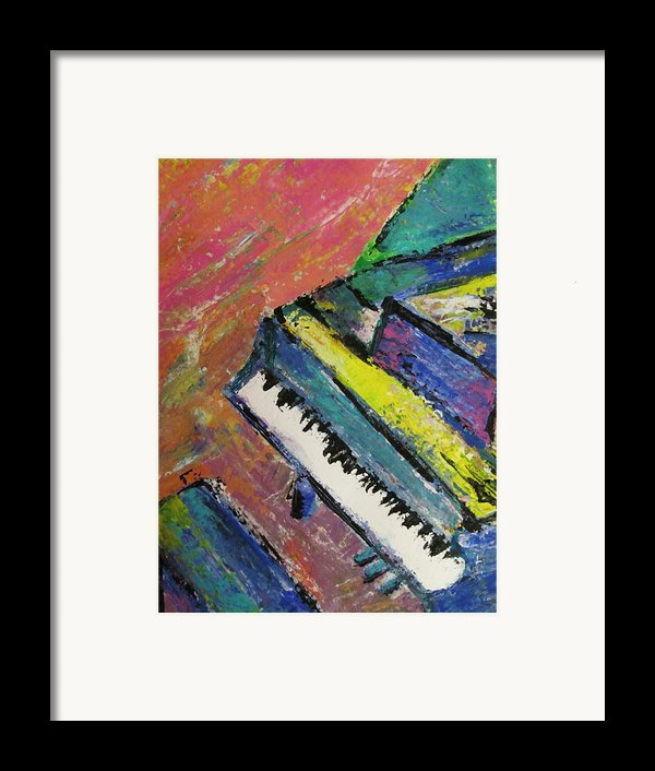 Piano With Yellow Framed Print By Anita Burgermeister