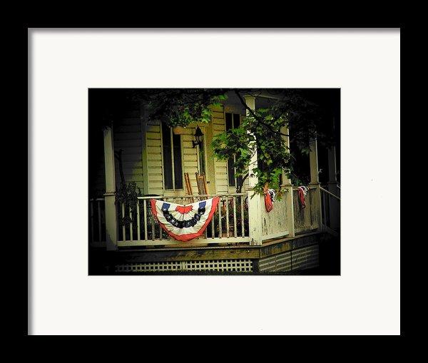 Porch Flag Framed Print By Michael L Kimble