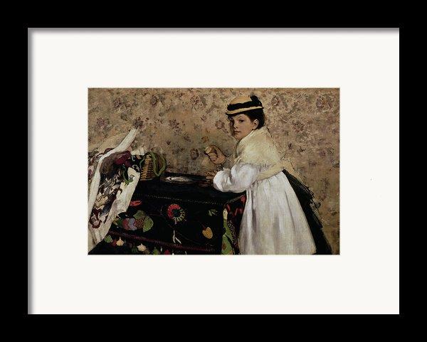 Portrait Of Hortense Valpincon As A Child Framed Print By Edgar Degas