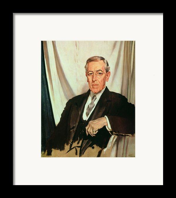 Portrait Of Woodrow Wilson Framed Print By Sir William Orpen