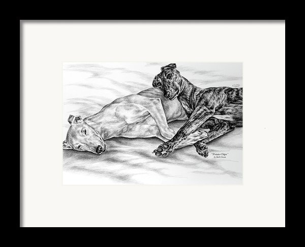 Potato Chips - Two Greyhound Dogs Print Framed Print By Kelli Swan