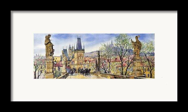 Prague Charles Bridge Spring Framed Print By Yuriy  Shevchuk