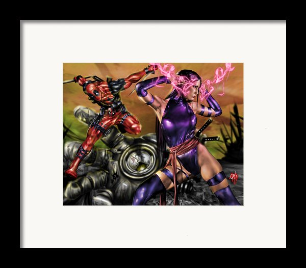Psylocke And Deadpool Framed Print By Pete Tapang