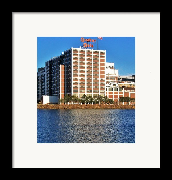 Quaker Oats First Building Framed Print By Marsha Heiken