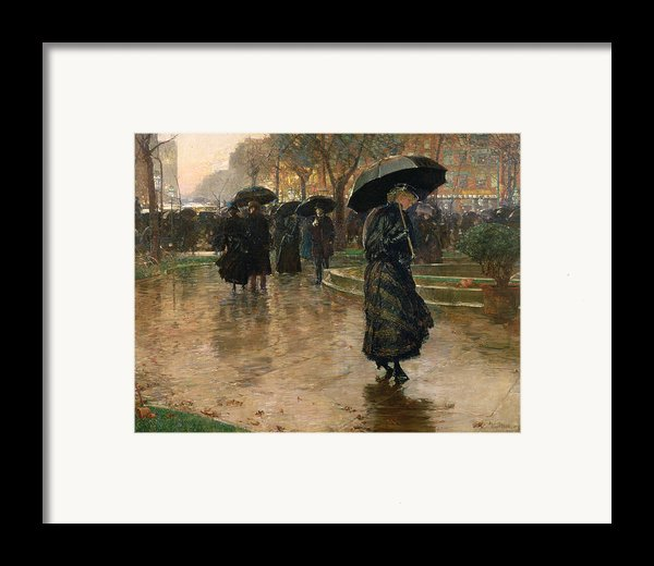 Rain Storm Union Square Framed Print By Childe Hassam