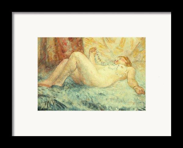 Reclining Nude Framed Print By Henri Lebasque