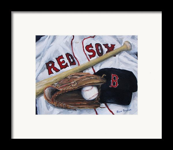 Red Sox Number Six Framed Print By Jack Skinner