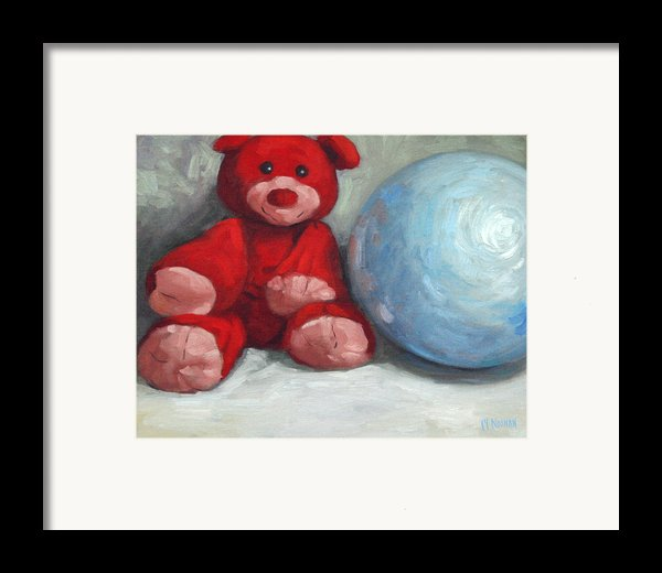 Red Teddy And A Blue Ball Framed Print By William Noonan