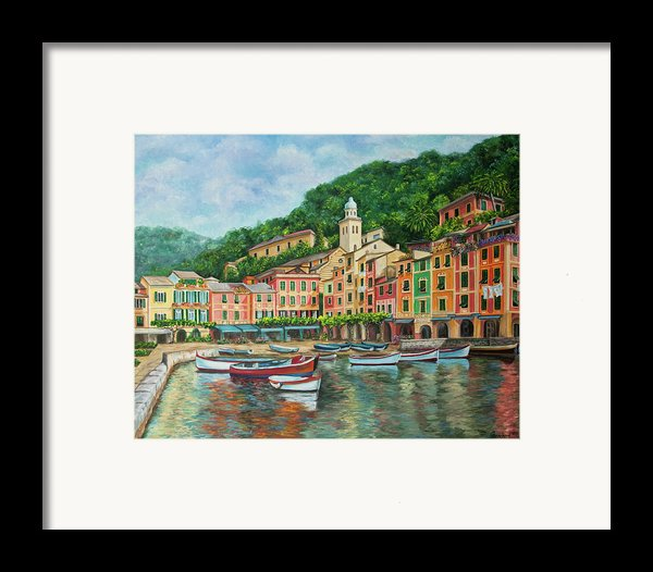 Reflections Of Portofino Framed Print By Charlotte Blanchard
