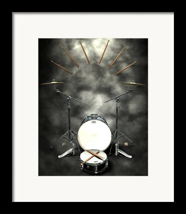 Rock N Roll Crest-the Drummer Framed Print By Frederico Borges