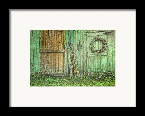 Rustic Barn Doors With Grunge Texture Framed Print By Sandra Cunningham