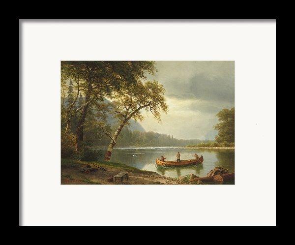 Salmon Fishing On The Caspapediac River Framed Print By Albert Bierstadt