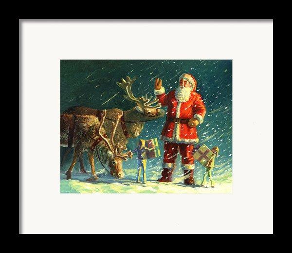 Santas And Elves Framed Print By David Price