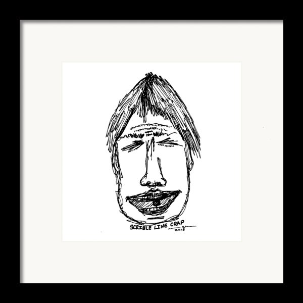 Scribble Line Face Framed Print By Karl Addison