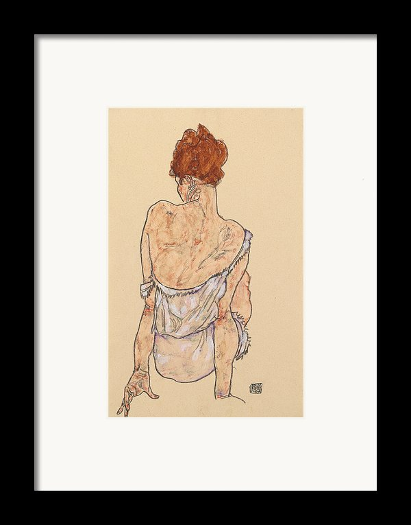 Seated Woman In Underwear Framed Print By Egon Schiele