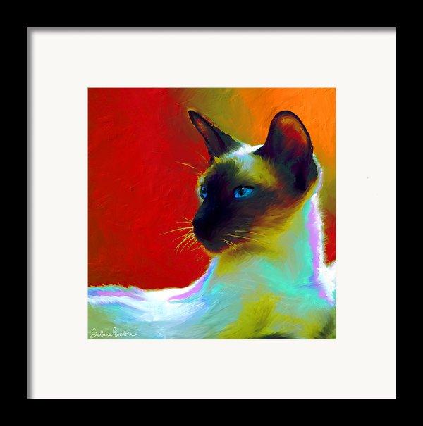 Siamese Cat 10 Painting Framed Print By Svetlana Novikova