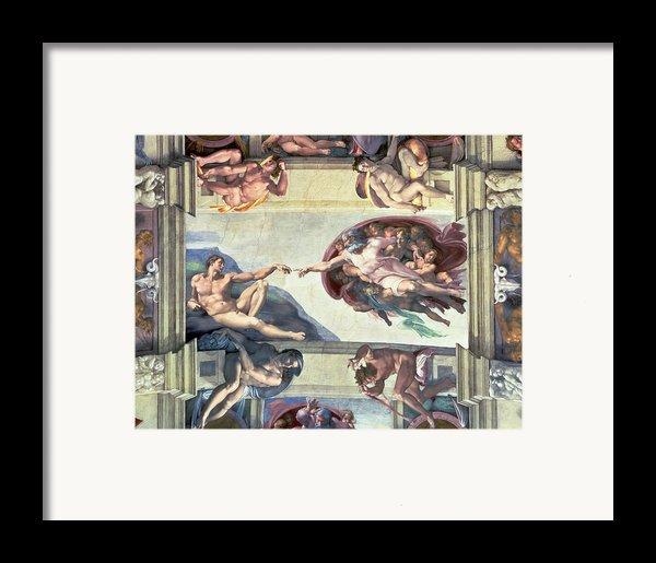 Sistine Chapel Ceiling Creation Of Adam Framed Print By Michelangelo