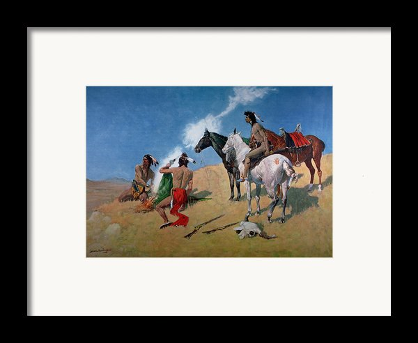 Smoke Signals Framed Print By Frederic Remington