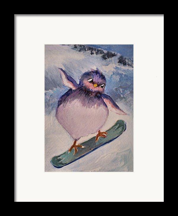 Snowboard Bird Framed Print By Diane Ursin