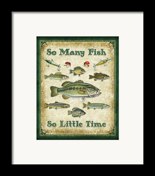 So Many Fish Sign Framed Print By Jq Licensing