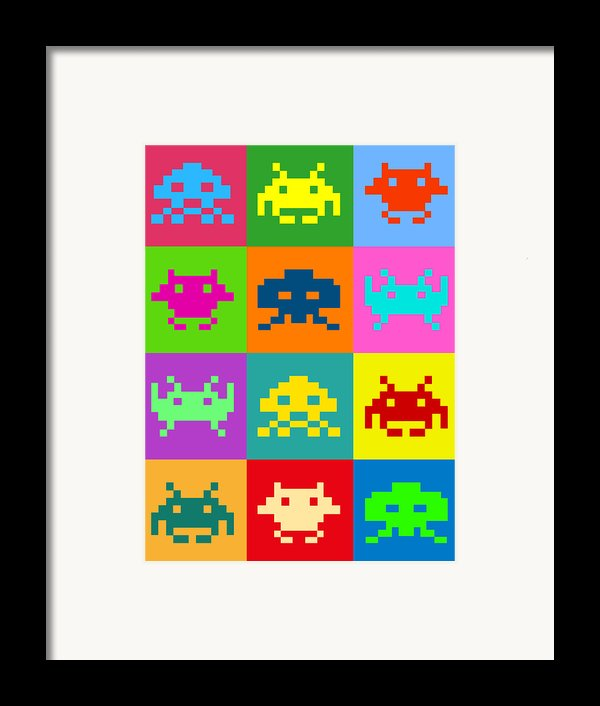 Space Invaders Squares Framed Print By Michael Tompsett