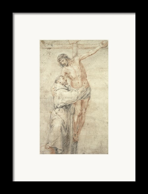 St Francis Rejecting The World And Embracing Christ Framed Print By Bartolome Esteban Murillo