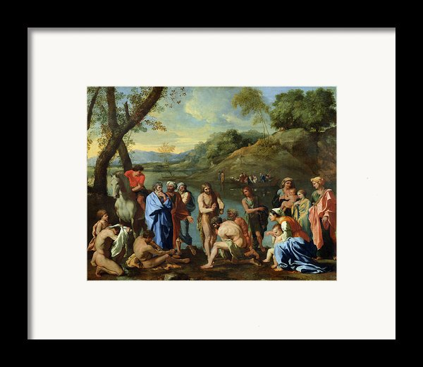 St John Baptising The People Framed Print By Nicolas Poussin