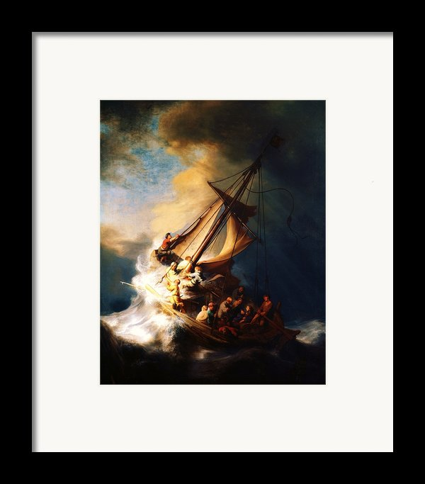 Storm On The Sea Of Galilee Framed Print By Pg Reproductions