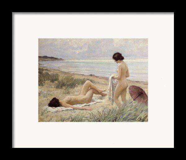 Summer On The Beach Framed Print By Paul Fischer