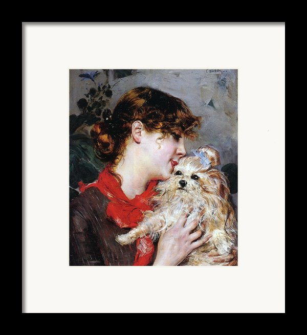 The Actress Rejane And Her Dog Framed Print By Giovanni Boldini