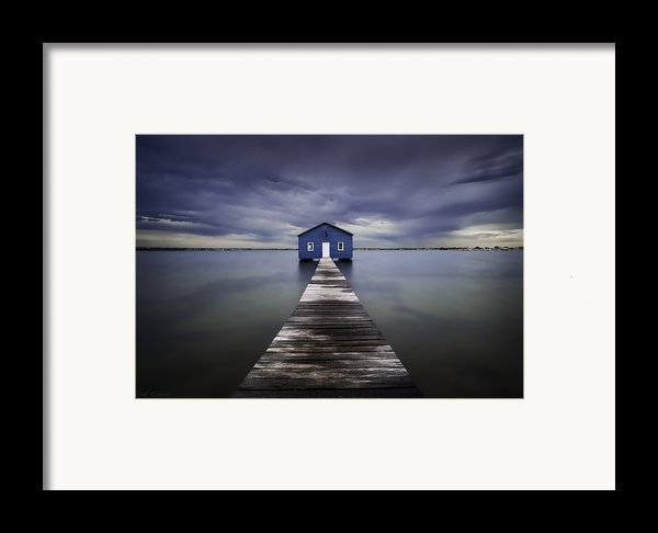 The Blue Boatshed Framed Print By Leah Kennedy