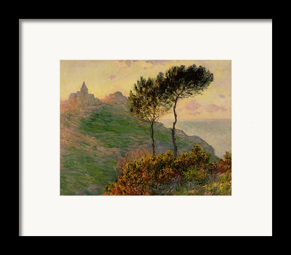 The Church At Varengeville Against The Sunlight Framed Print By Claude Monet