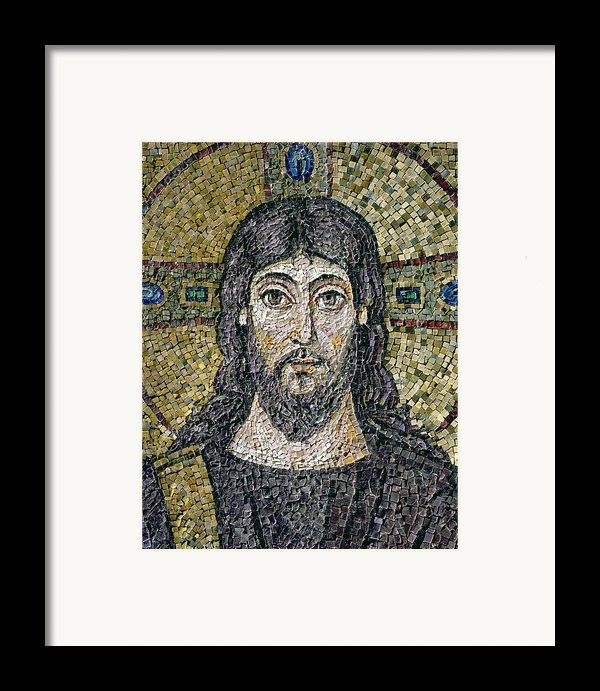 The Face Of Christ Framed Print By Byzantine School