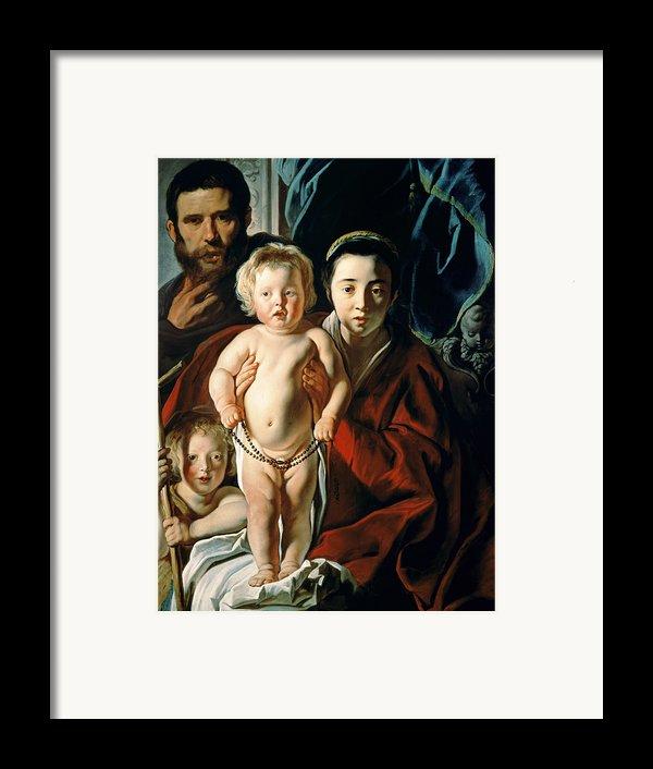 The Holy Family With St. John The Baptist Framed Print By Jacob Jordaens