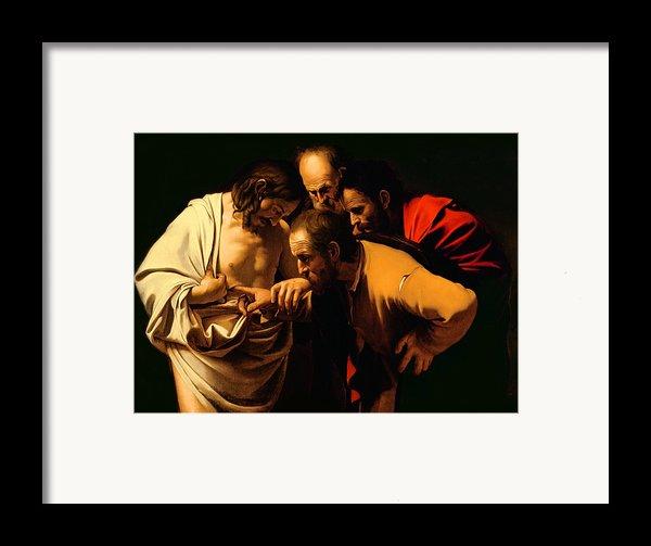 The Incredulity Of Saint Thomas Framed Print By Michelangelo Merisi Da Caravaggio