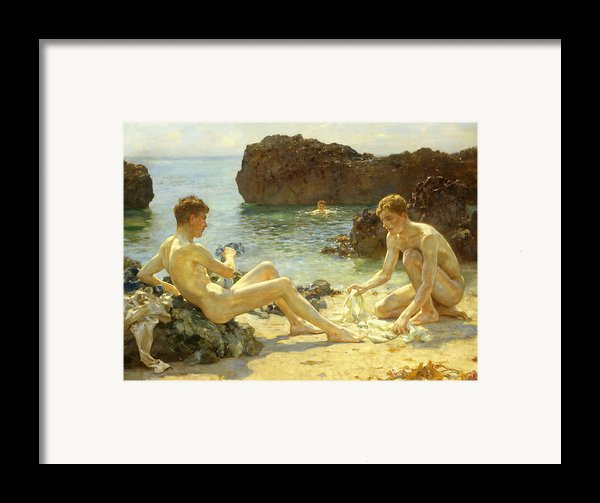 The Sun Bathers Framed Print By Henry Scott Tuke