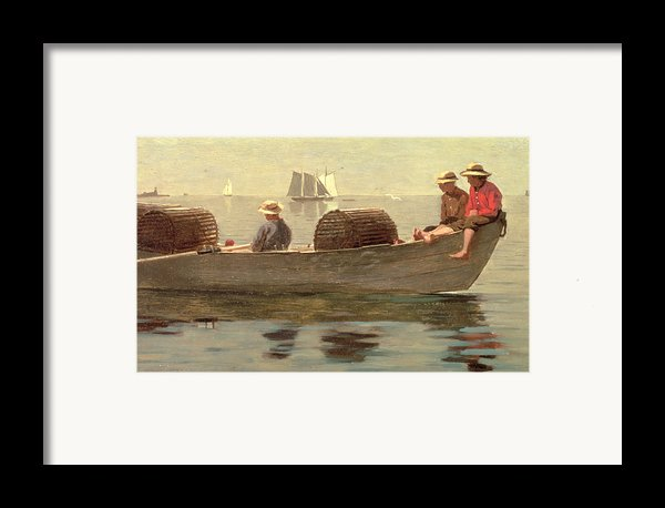 Three Boys In A Dory Framed Print By Winslow Homer