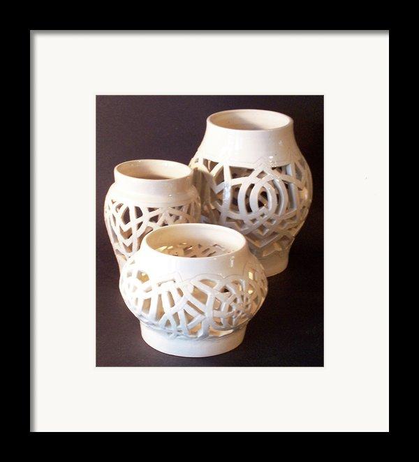 Three Interlaced Design Wheel Thrown Pots Framed Print By Carolyn Coffey Wallace