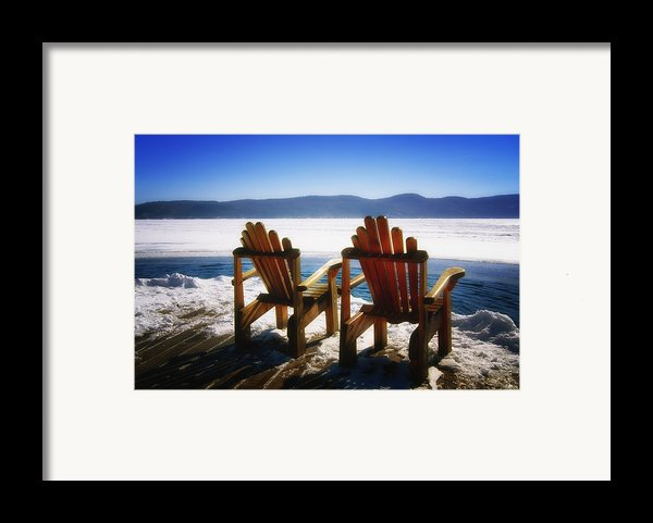 Two Adirondack Chairs  Framed Print By George Oze