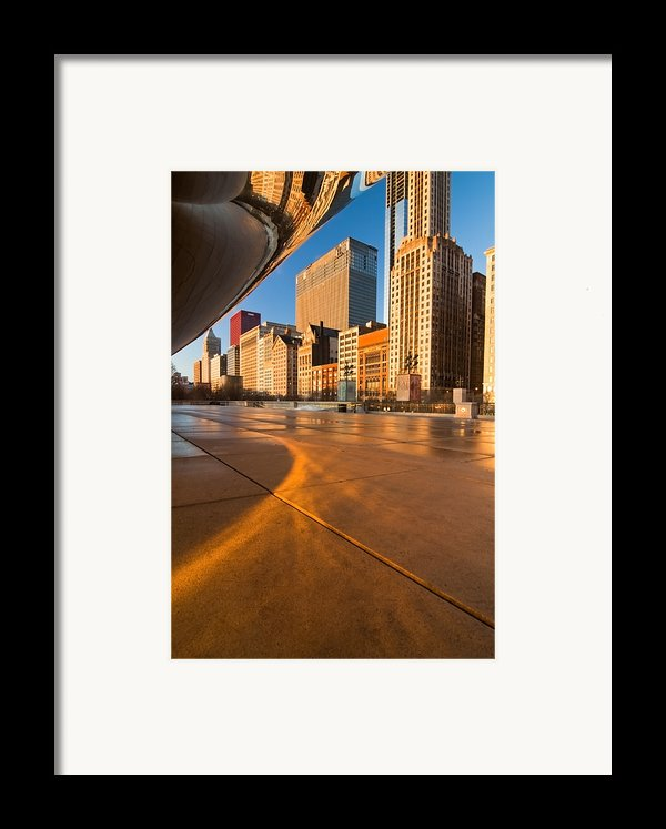 Under The Bean And Chicago Skyline At Sunrise Framed Print By Sven Brogren
