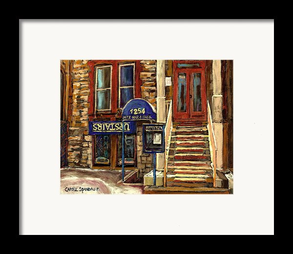 Upstairs Jazz Bar And Grill Montreal Framed Print By Carole Spandau