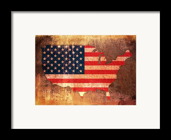 Usa Star And Stripes Map Framed Print By Michael Tompsett