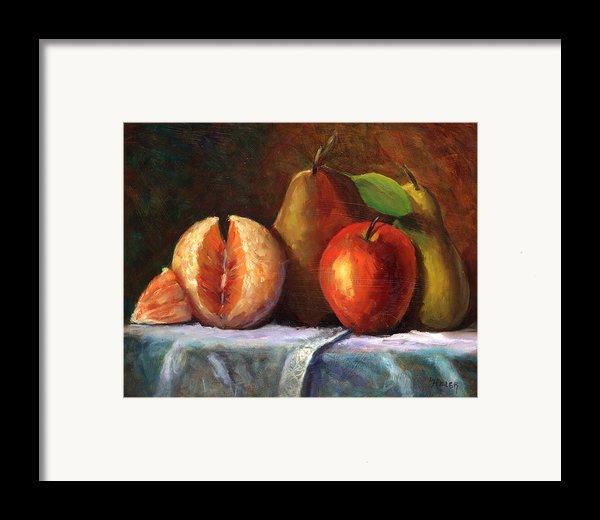 Vintage-fruit Framed Print By Linda Hiller